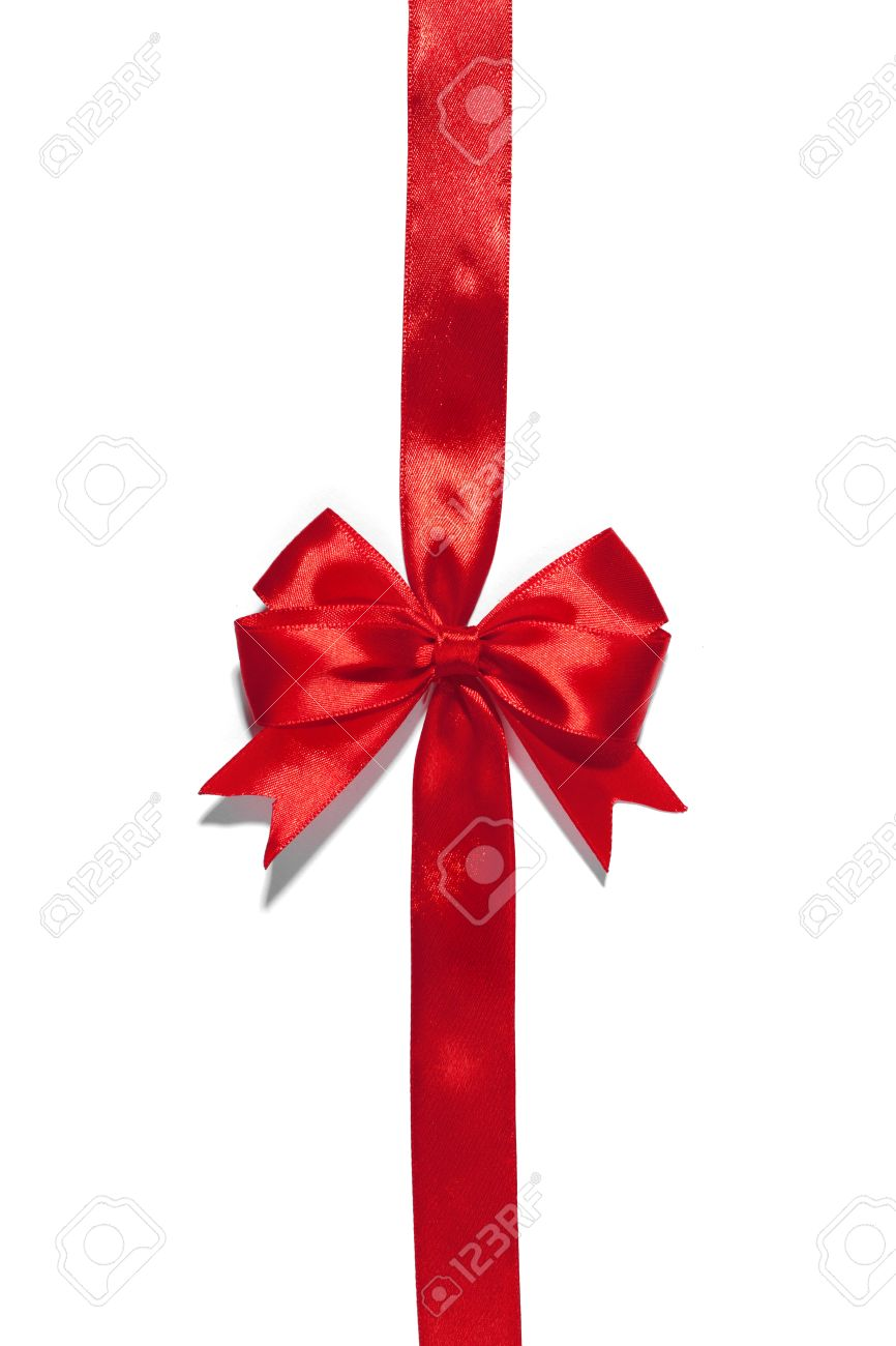 Red ribbons with bow with tails isolated on white background Stock Photo - 49392185