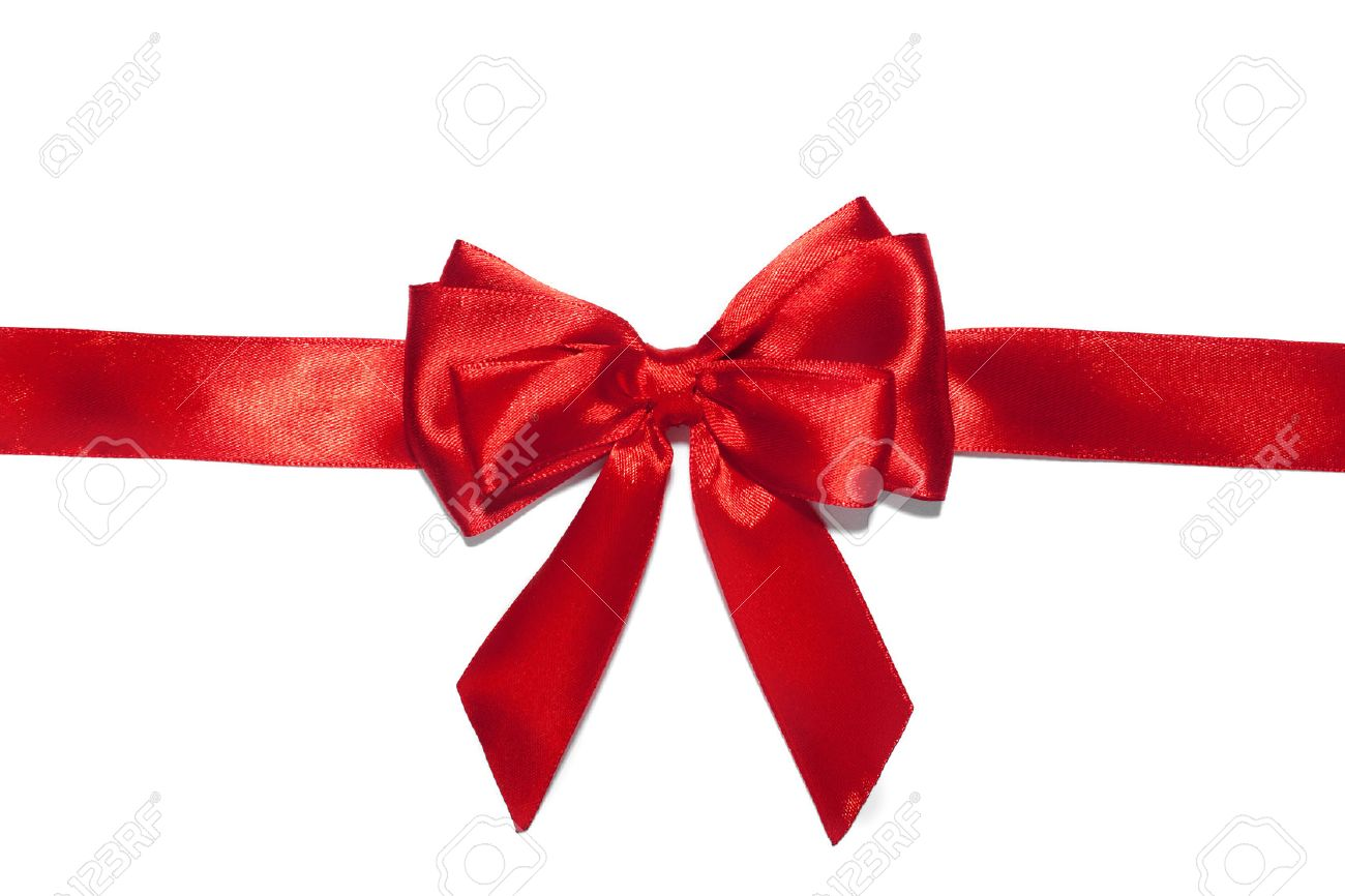 Red ribbon bow on white background. Stock Photo - 49392282