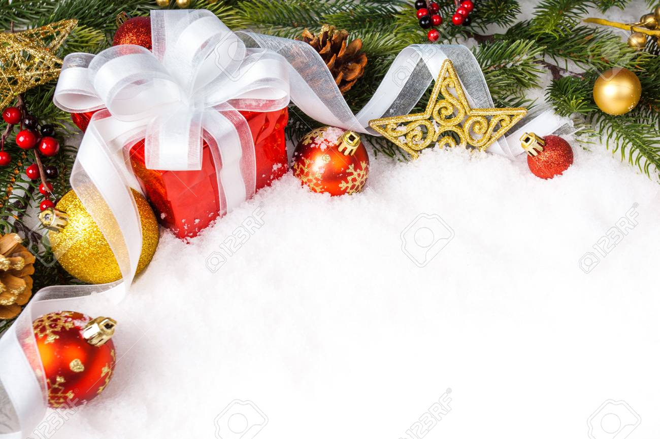 Christmas Gift With Decoration On White Background Xmas Day