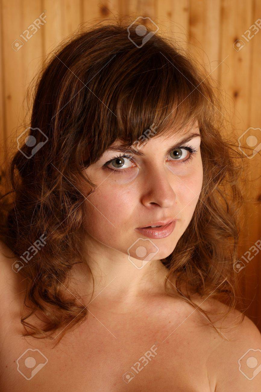 nude girl portrait of a young naked woman with big boobs stock photo