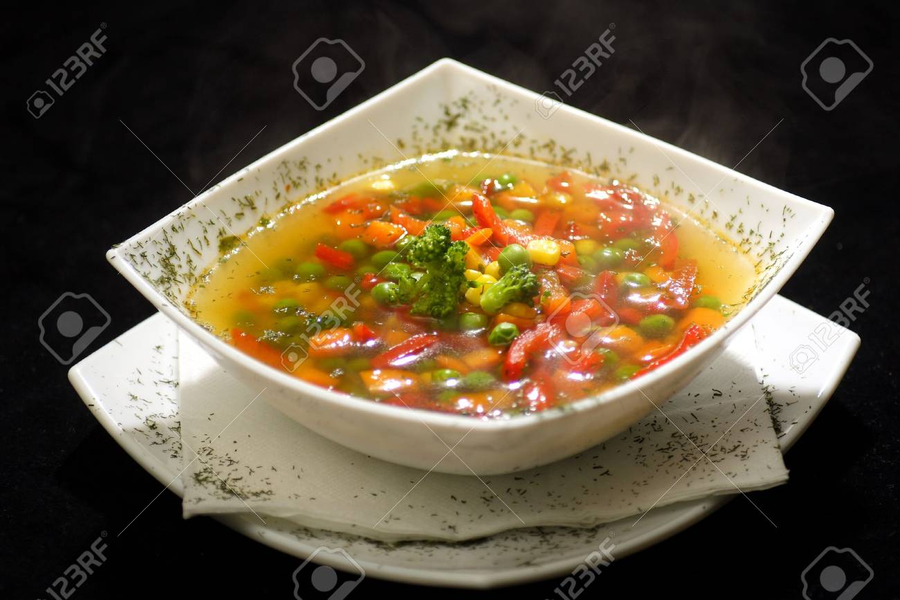 colorful bowl of fresh vegtable soup Stock Photo - 615613