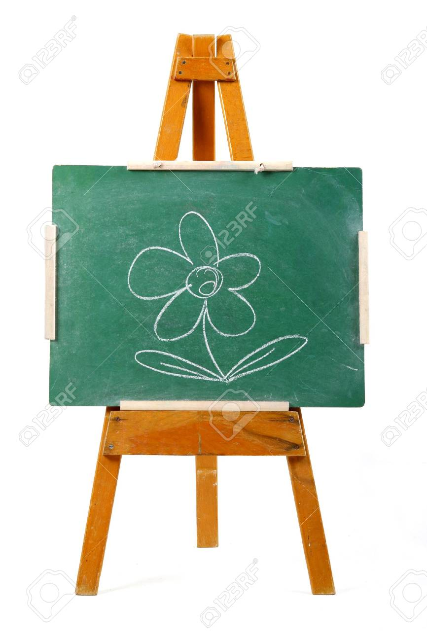 drawing of a flower on a  green chalk board Stock Photo - 746939