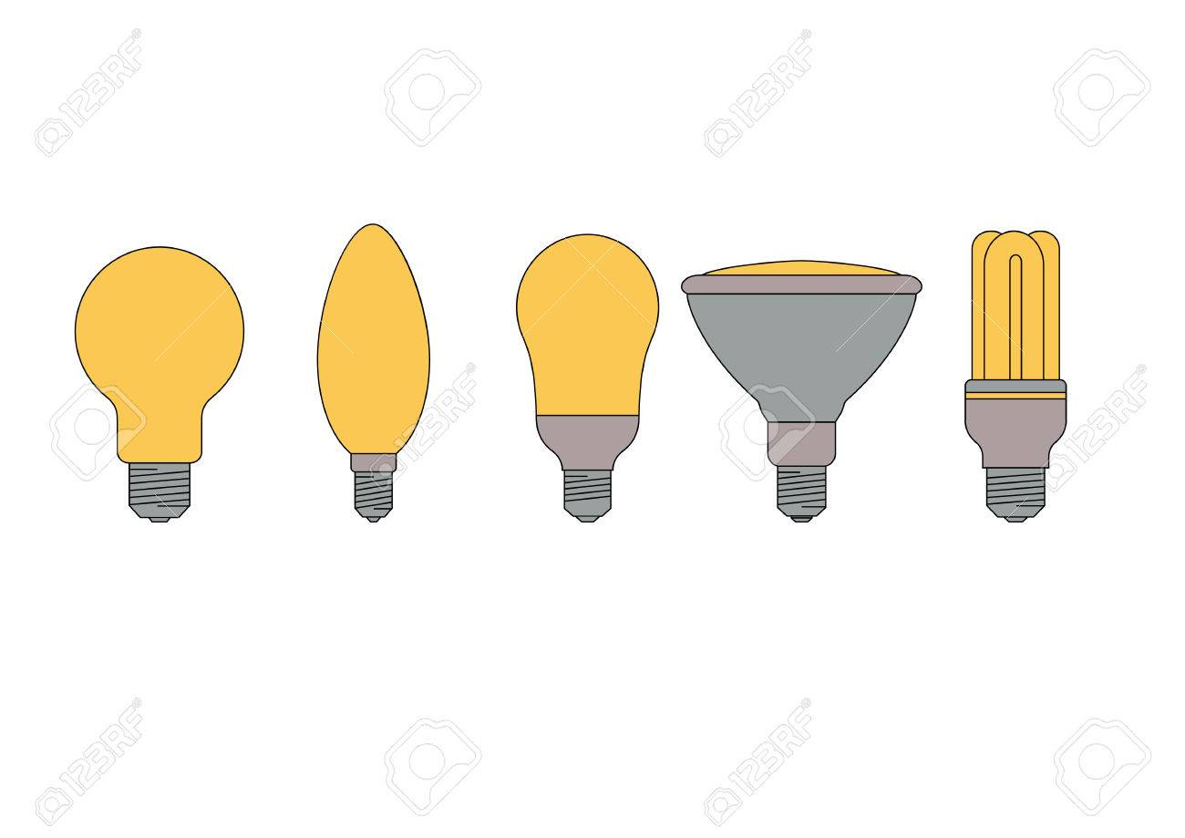 Set Of Five Different Types Of Light Bulbs With Energy Efficient Bulbs  Stock Vector   1933014