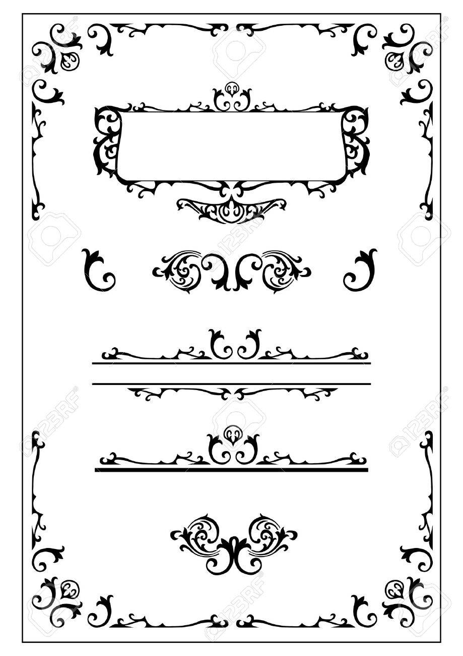 victorian ornamental scroll border, nameplate and design elements Stock Vector - 1934502