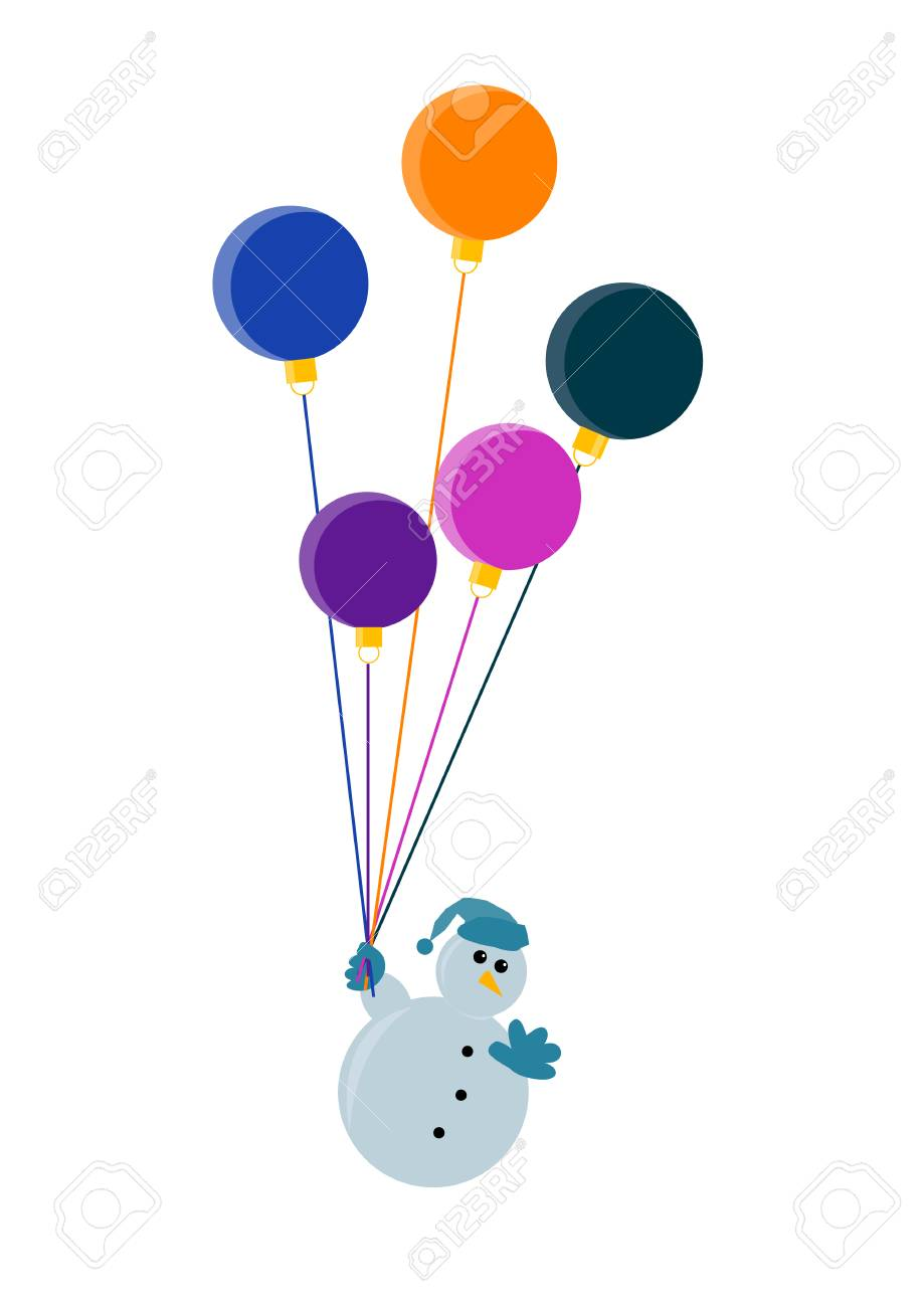 flying snowman waving with christmas decorations illustration Stock Vector - 2051444