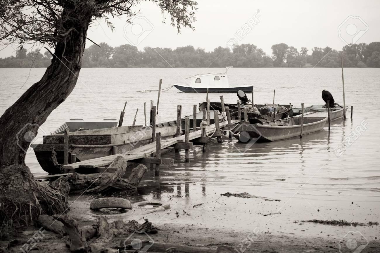 traditonal fishing boats on the river Danube Stock Photo - 2515382