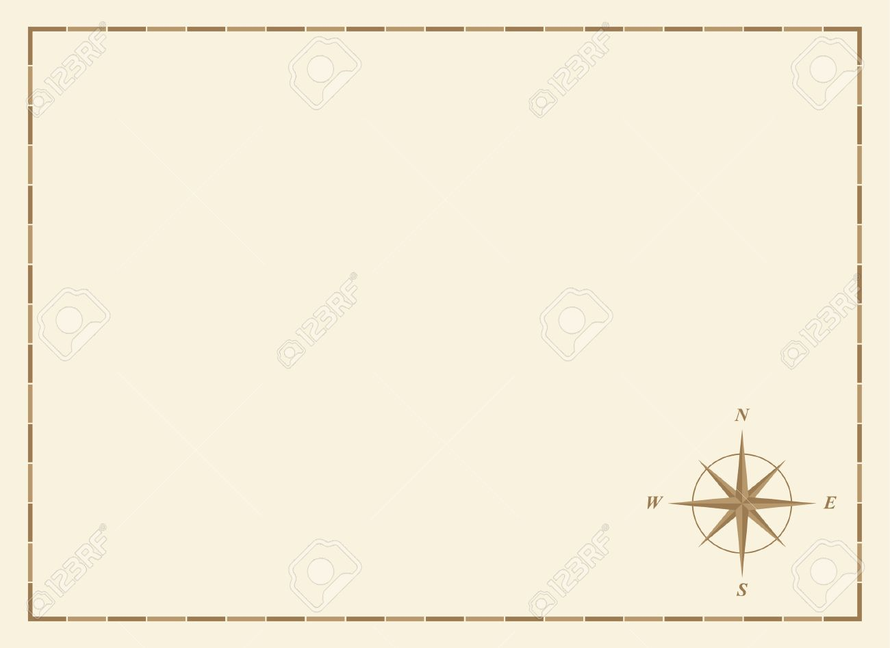 Old Blank Map With Comp Rose And Border Stock Vector 2598497