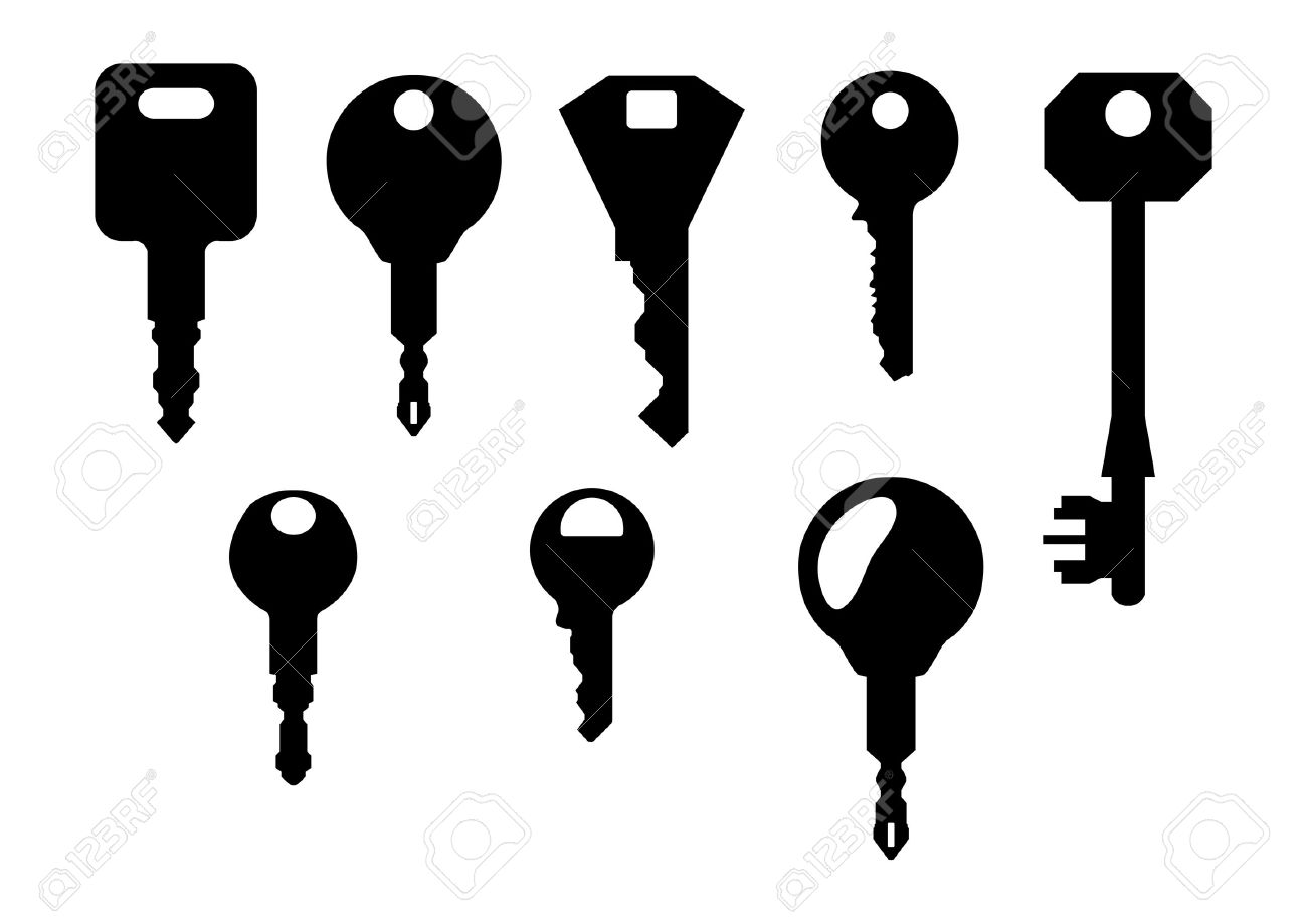 Isolated Key Shapes On White Background Royalty Free Cliparts ...