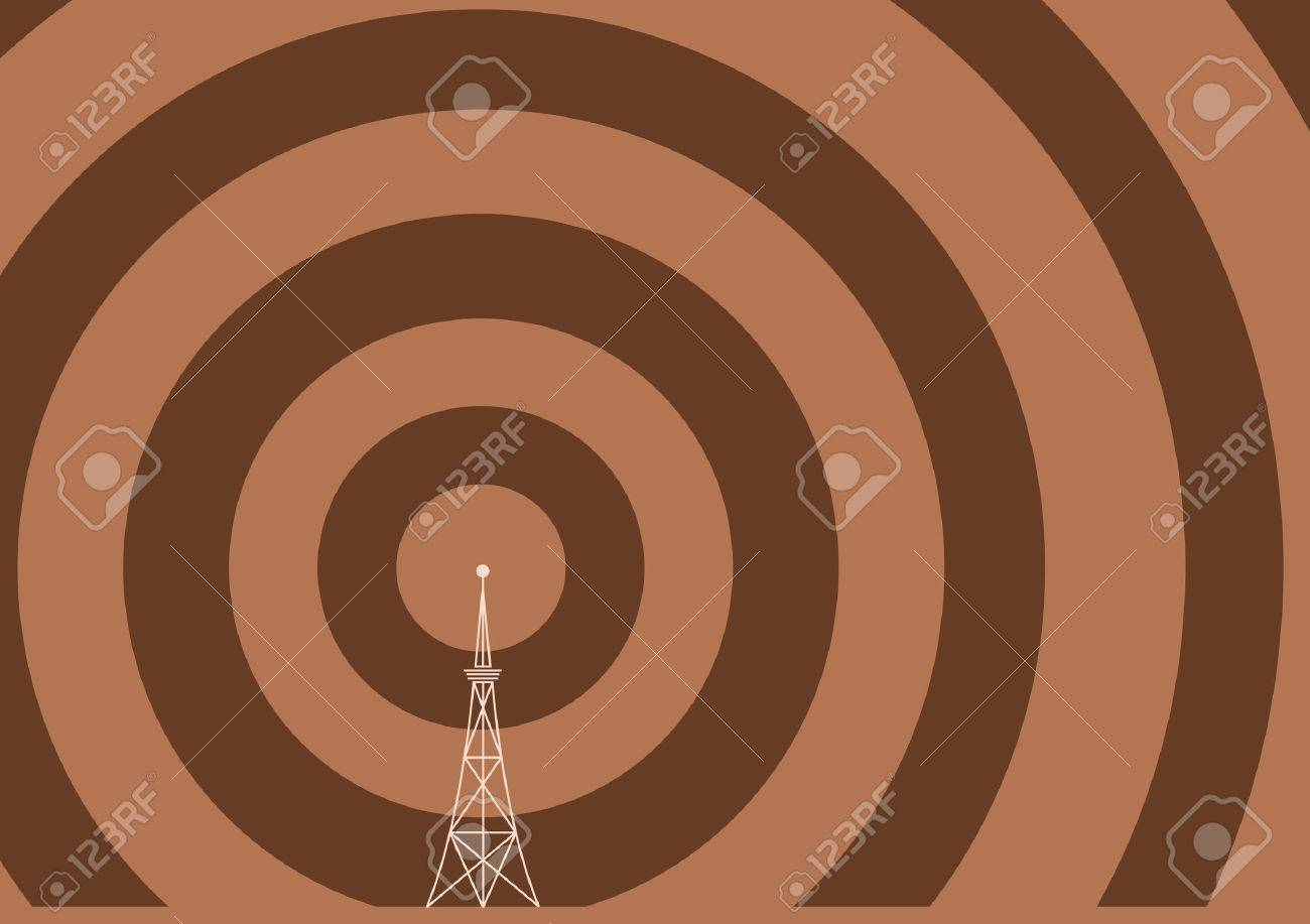 a broadcast tower with transmission waves Stock Vector - 3660656