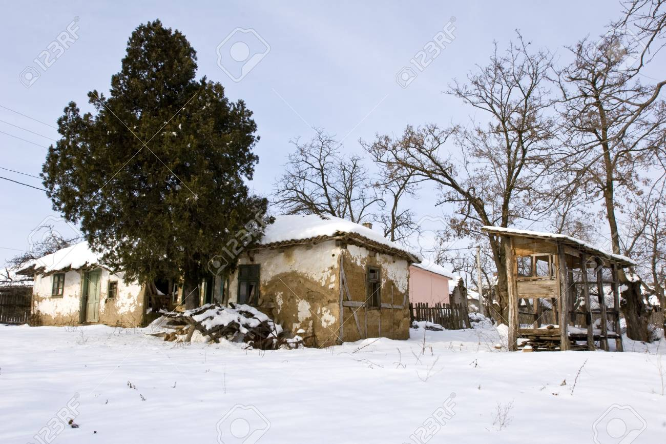 a traditional mud built farmhouse in winter Stock Photo - 3954459