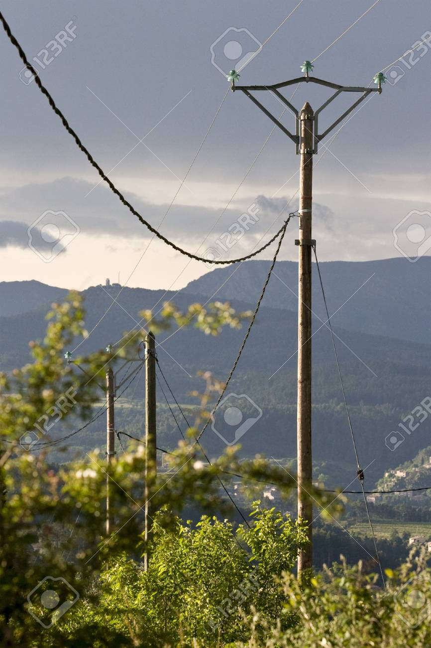 high voltage overhead power cables Stock Photo - 4031300