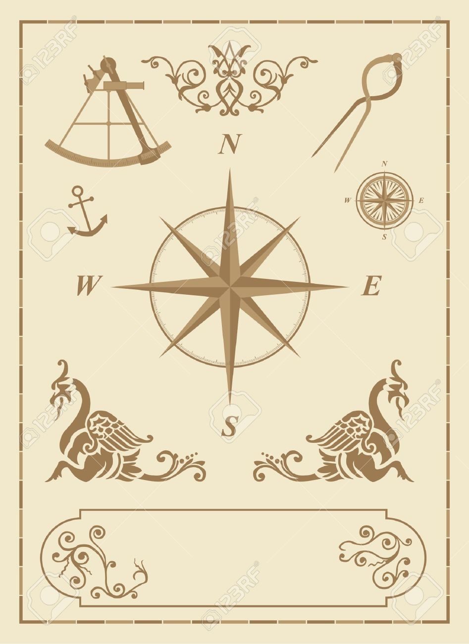 Set of old nautical symbols and icons with vintage map design set of old nautical symbols and icons with vintage map design elements stock photo 4935693 biocorpaavc