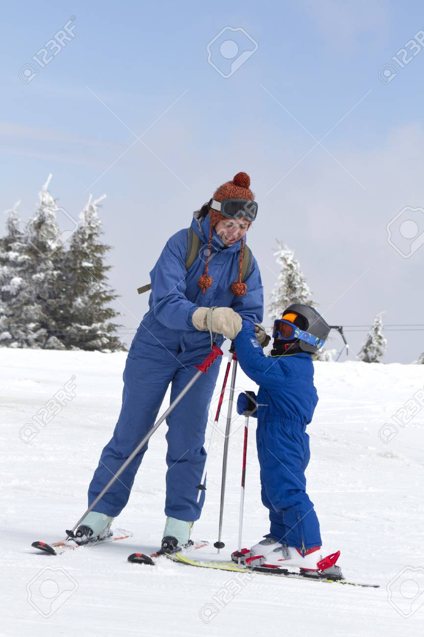 young child learning to ski Stock Photo - 9311616