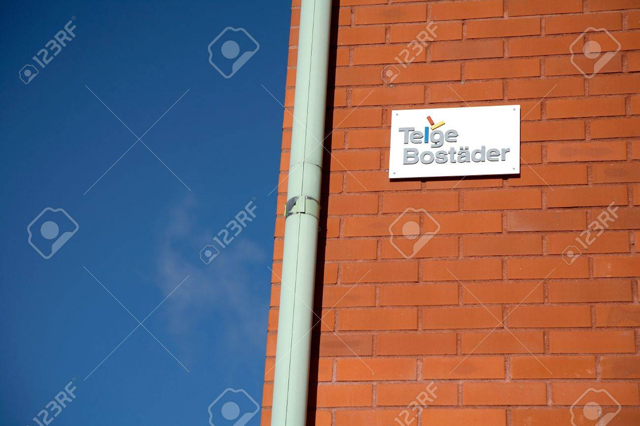 Sodertalje, Sweden - October 13 2012: Part of the facade of the municipal property of the Telge Bostader AB, building at Storgatan 22-30 in S?t?e.  Stock Photo - 15741041