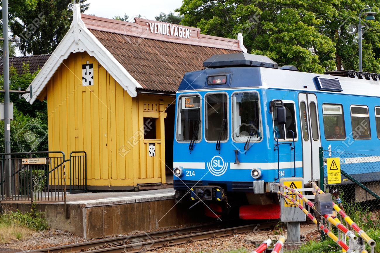 Djursholm, Sweden - July 15, 2016: A blue Stockholm public transport