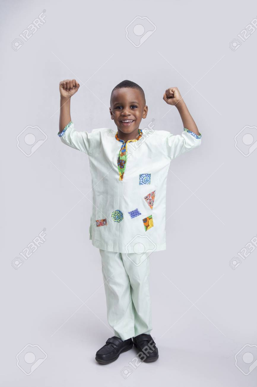 0e97507a0836e A Happy Little Boy With Both Hands Raised Up Stock Photo, Picture ...