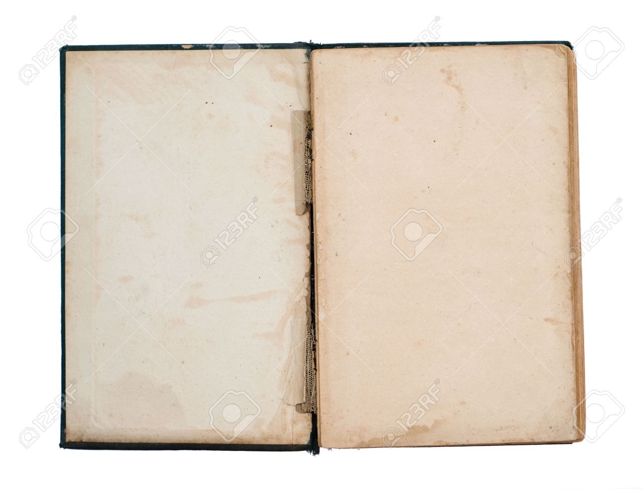Page Vierge De Titre Du Livre Ancien Endommage Ouvert Isolee Sur Blanc