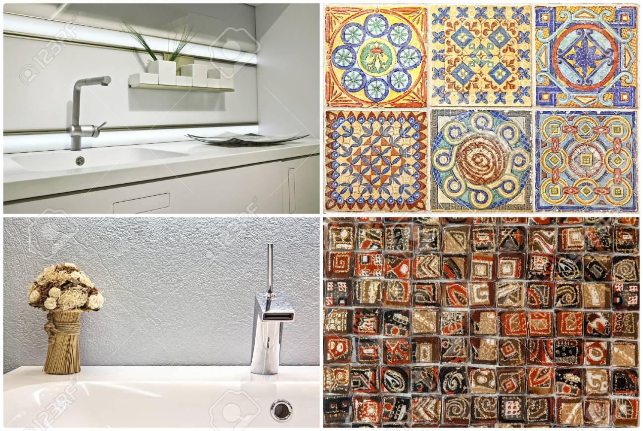 Moderner Waschtischstil Im Bad Und In Der Küche Sowie Portugiesische Fliesen  Standard Bild