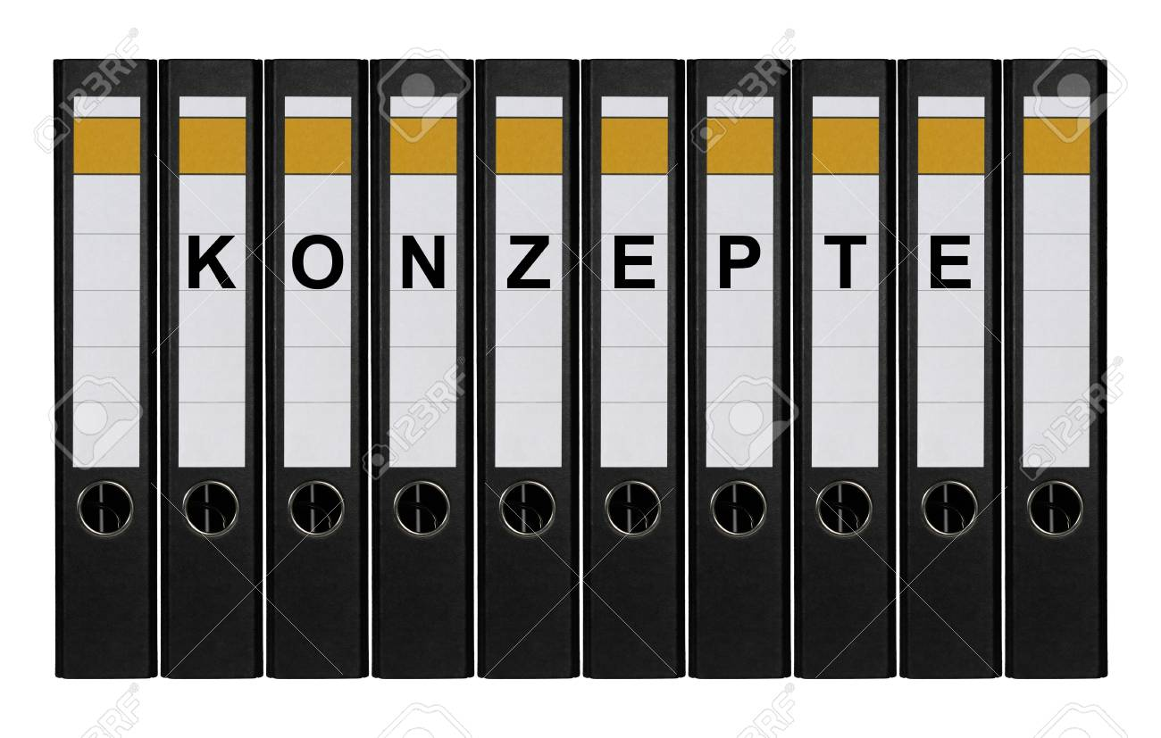 Ten ring binders labeled KONZEPTE standing side by side. - 9820183