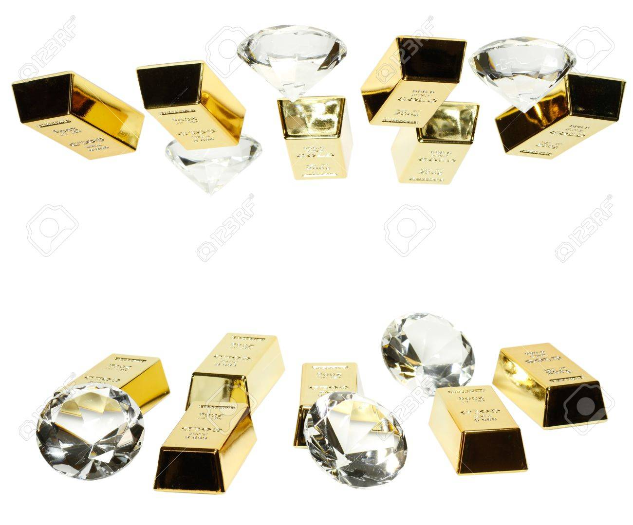 Gold bars and diamonds are together on the picture. Stock Photo - 10414484