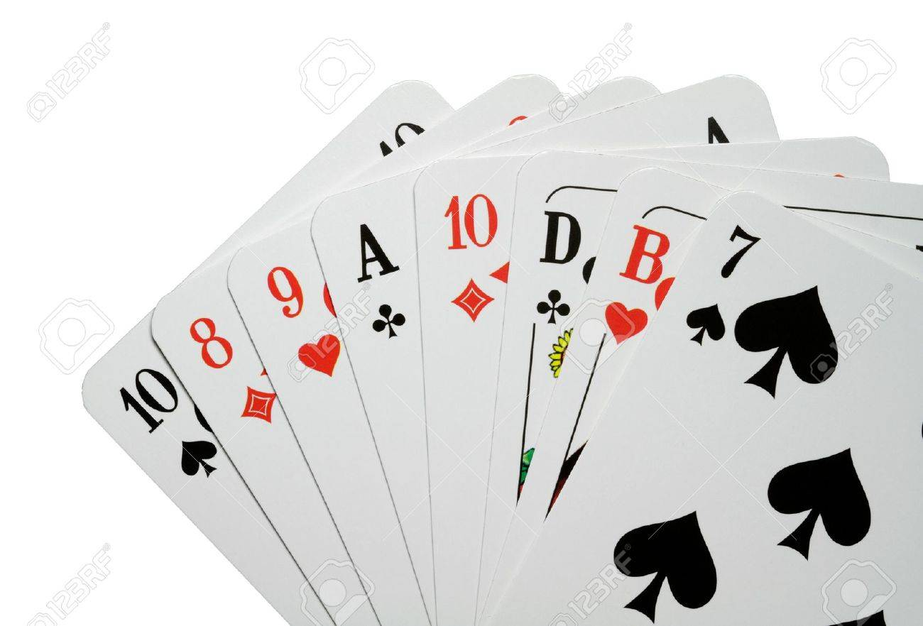 Photograph of good playing cards against a white background. Stock Photo - 10884973