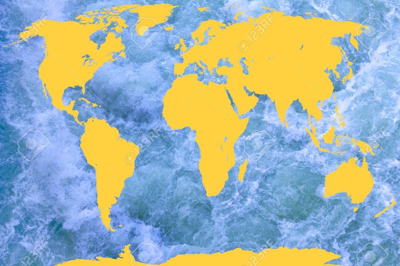 Carte Du Monde Jaune.Carte Du Monde Jaune Avec De L Eau Bleu Comme Un Arriere Plan