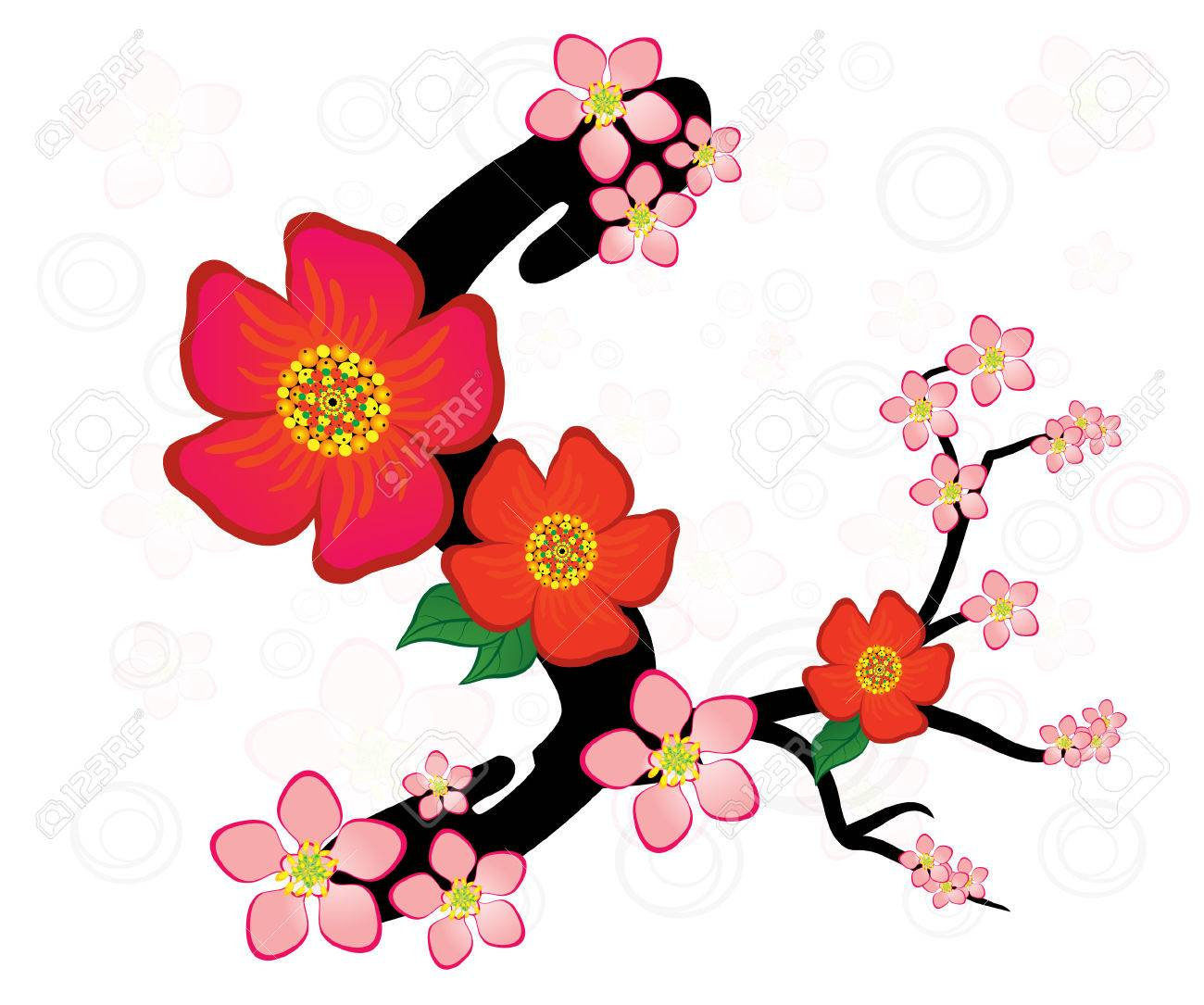 Alphabet With Gentle Sakura Flowers Letter S Royalty Free Cliparts