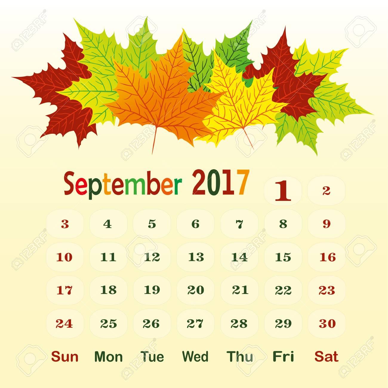 Kalendervorlage Für Den Monat Zum Beispiel September Lizenzfrei ...