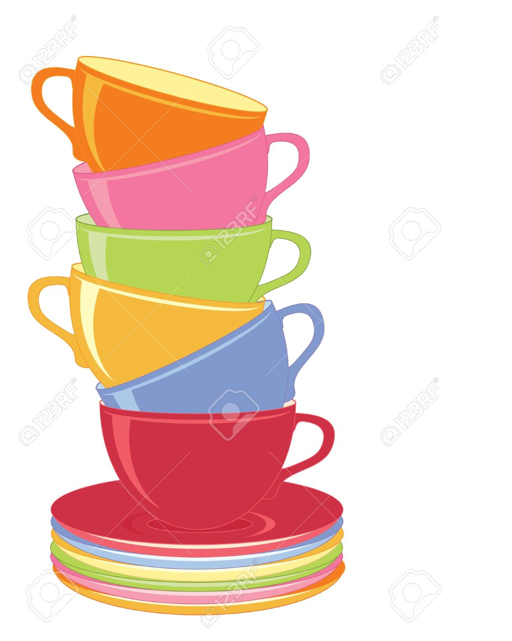 an illustration of a stack of colorful coffee cups on a white background Stock Vector - 12328878