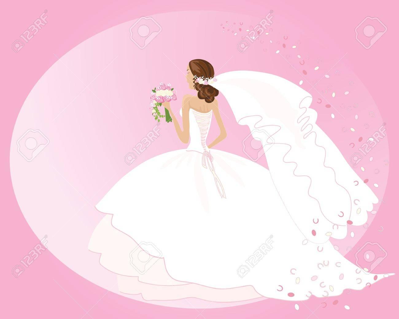 Una Ilustración De Una Mujer En Un Hermoso Vestido De Novia Con Un ...