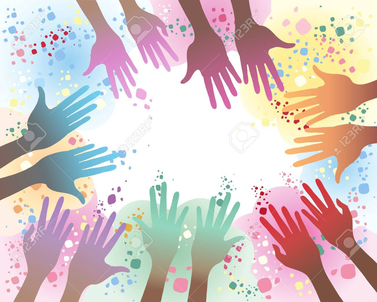 an illustration of seven pairs of hands in the festival of holi with a background of colorful paint splashes and copyspace in the middle for your text Stock Vector - 12489852