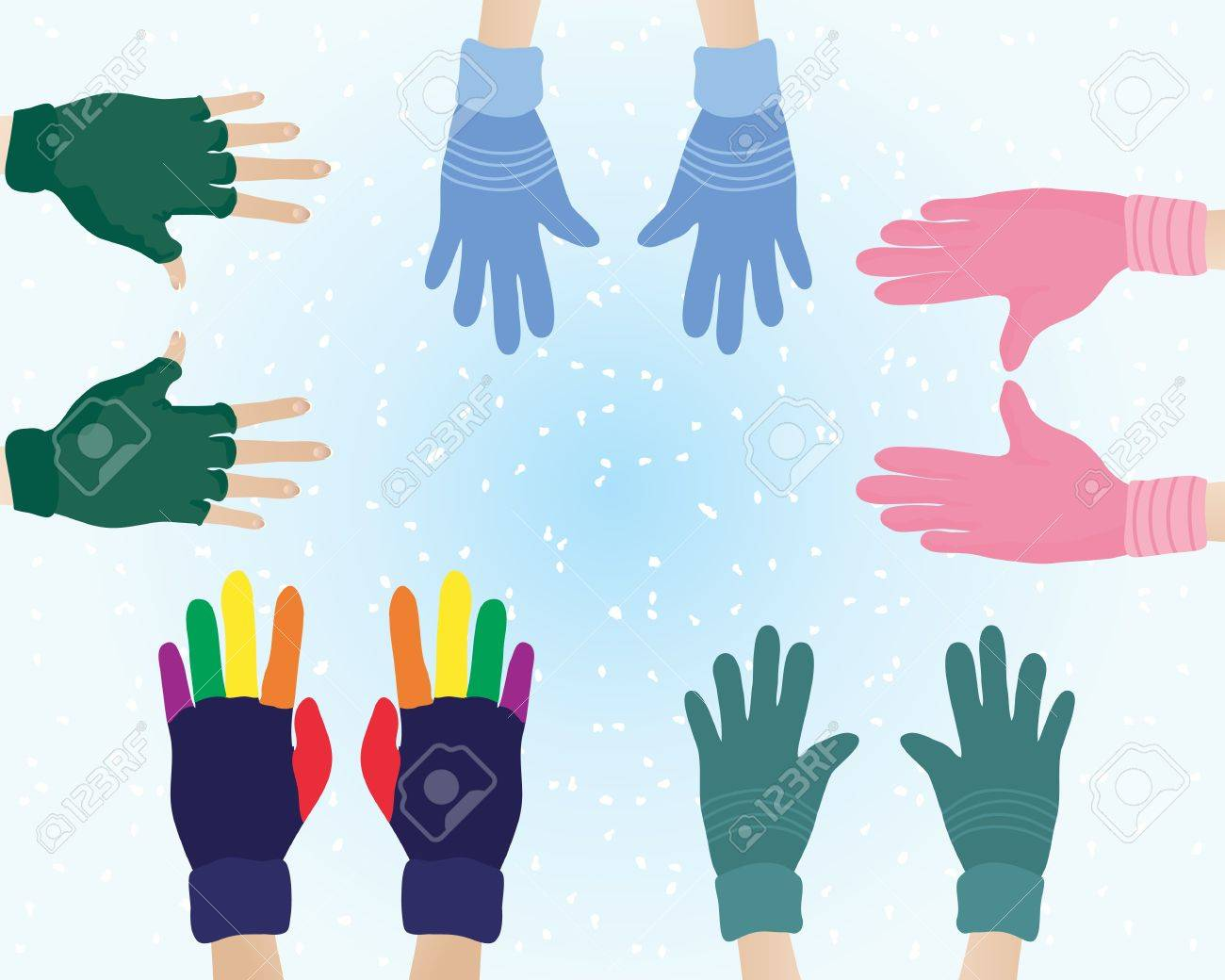 Fingerless gloves for guitarists - Fingerless Gloves An Illustration Of Pairs Of Hands With Different Colors And Patterns Of Woolly