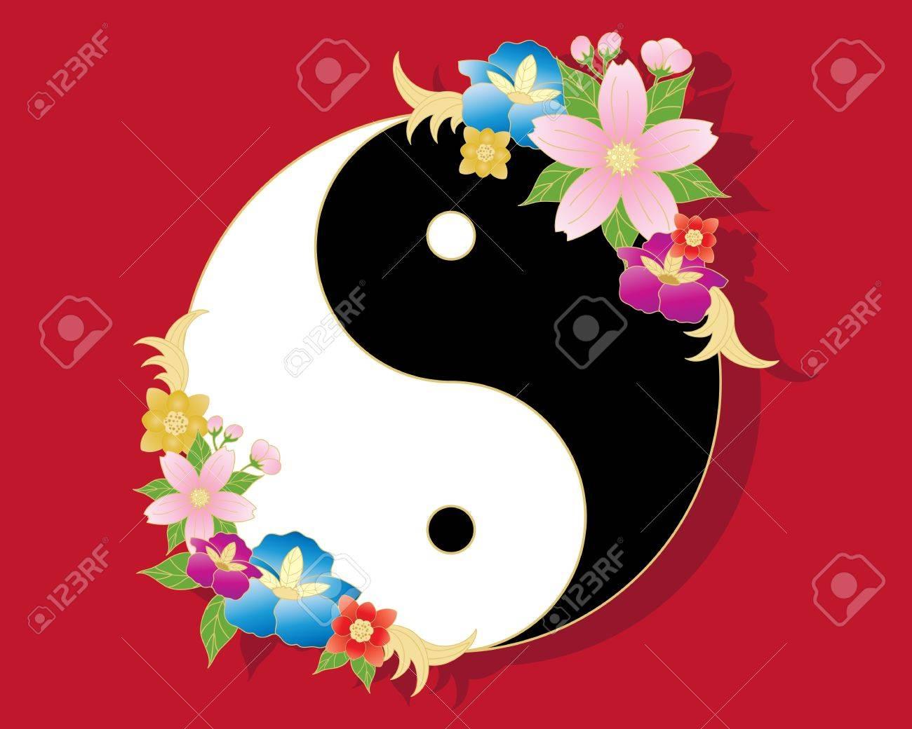 l'illustrazione di un simbolo yin-yang cinese in bianco e nero con decorazione floreale orientale stilizzata su uno sfondo rosso Archivio Fotografico - 13594041