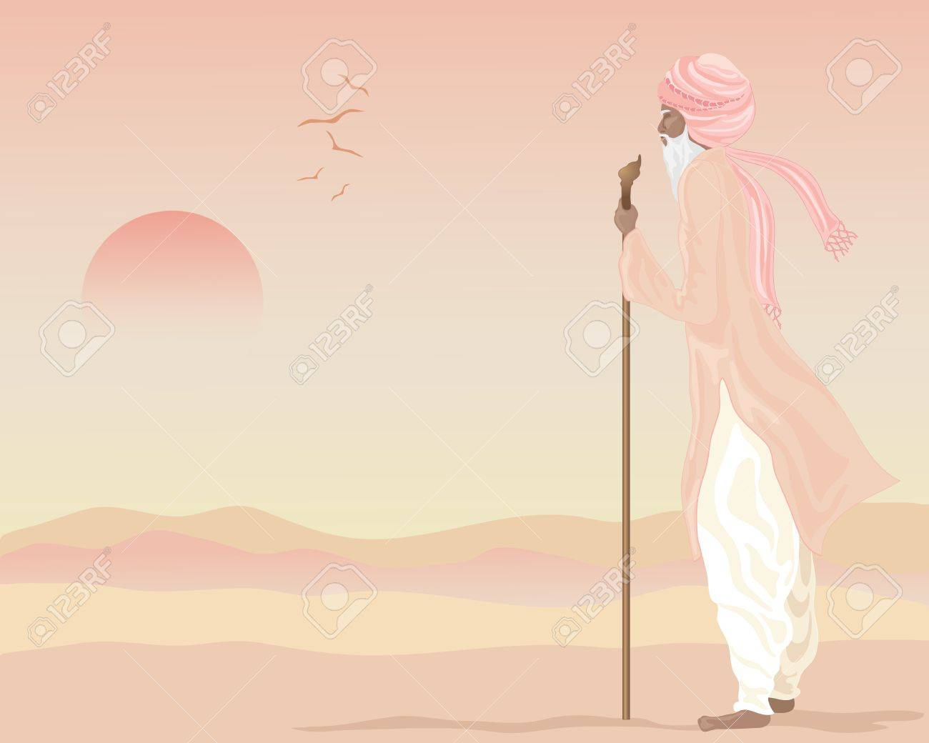 an illustration of an indian farmer in traditional rural clothing standing looking across an arid landscape underneath a setting sun Stock Vector - 13895390
