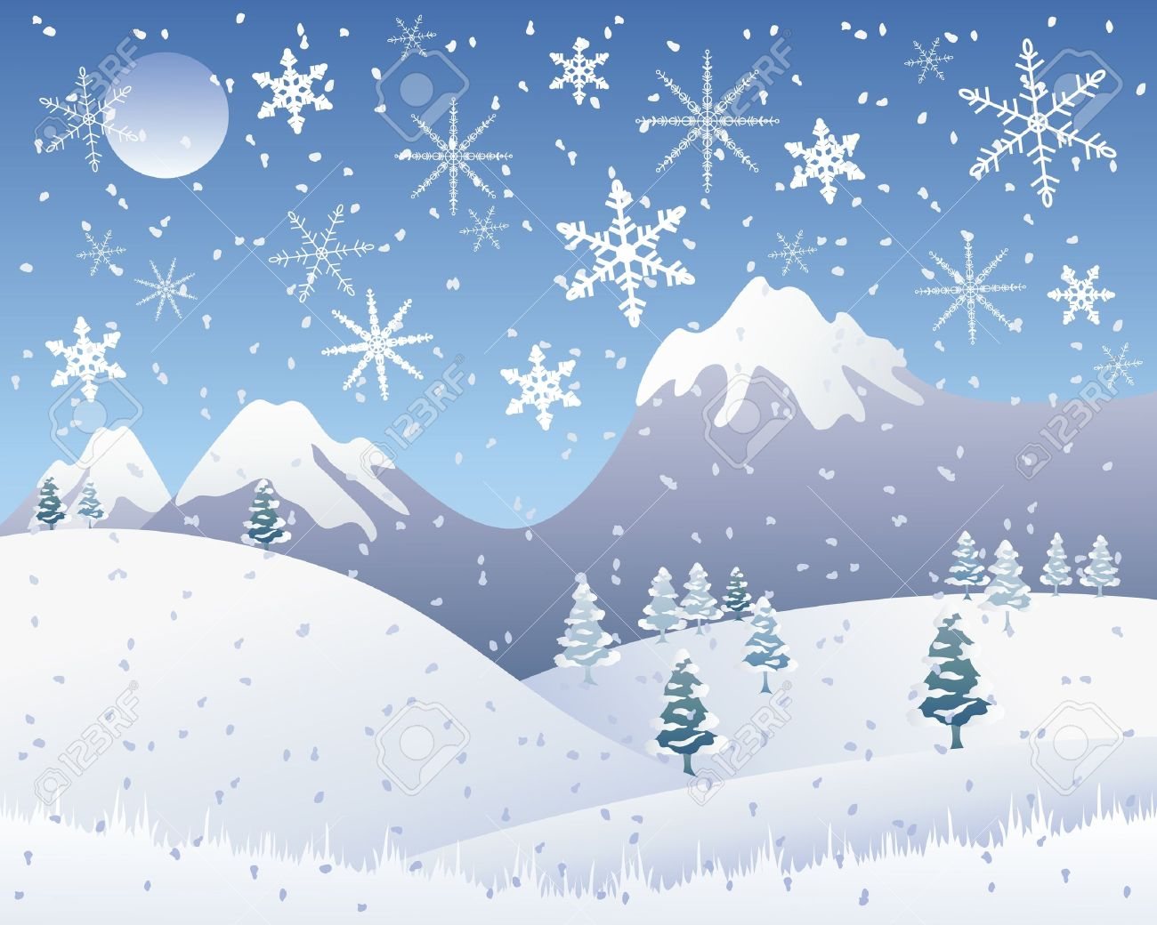 An Illustration Of A Snowy Christmas Landscape With Snow Capped ...