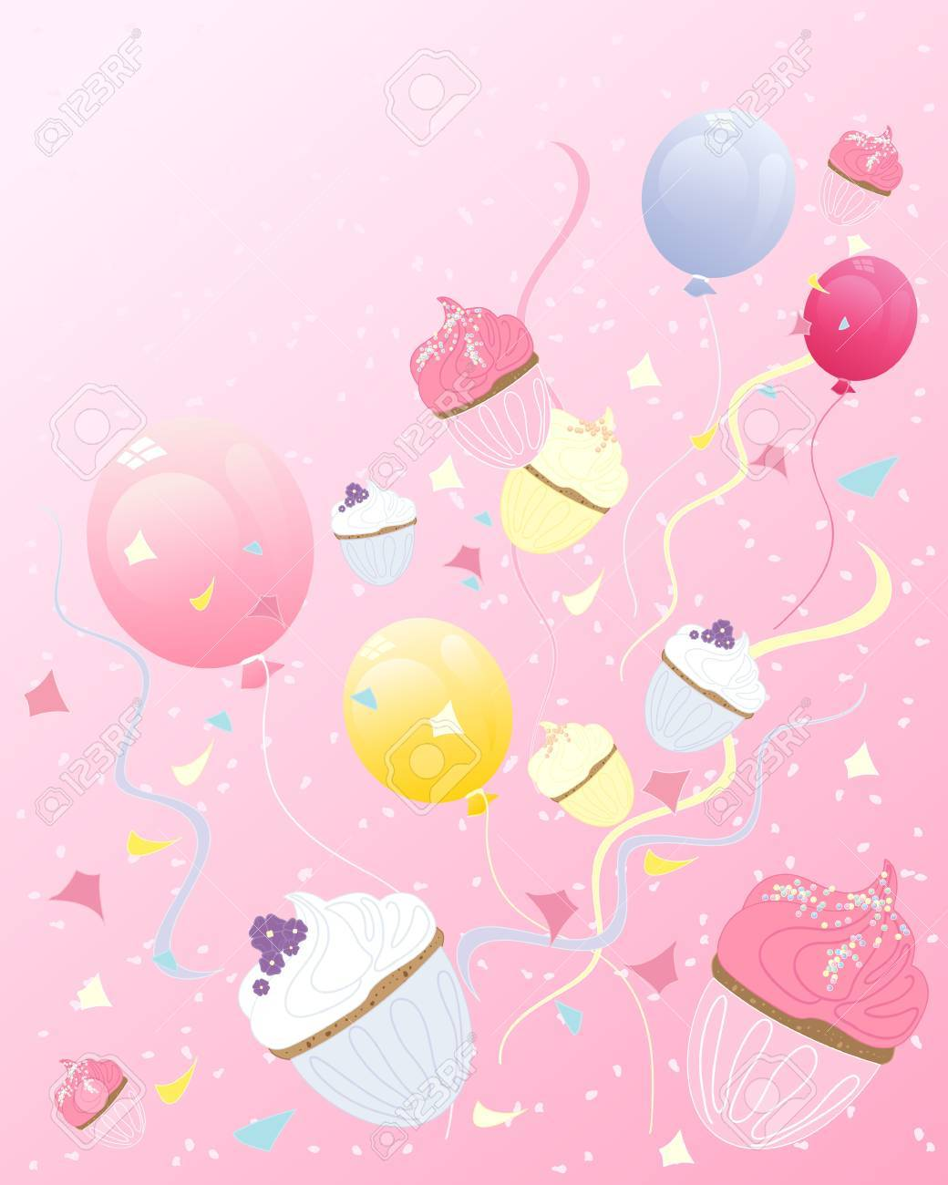 an illustration of abstract cupcakes with balloons streamers and confetti on a party background with space for text Stock Vector - 14711800