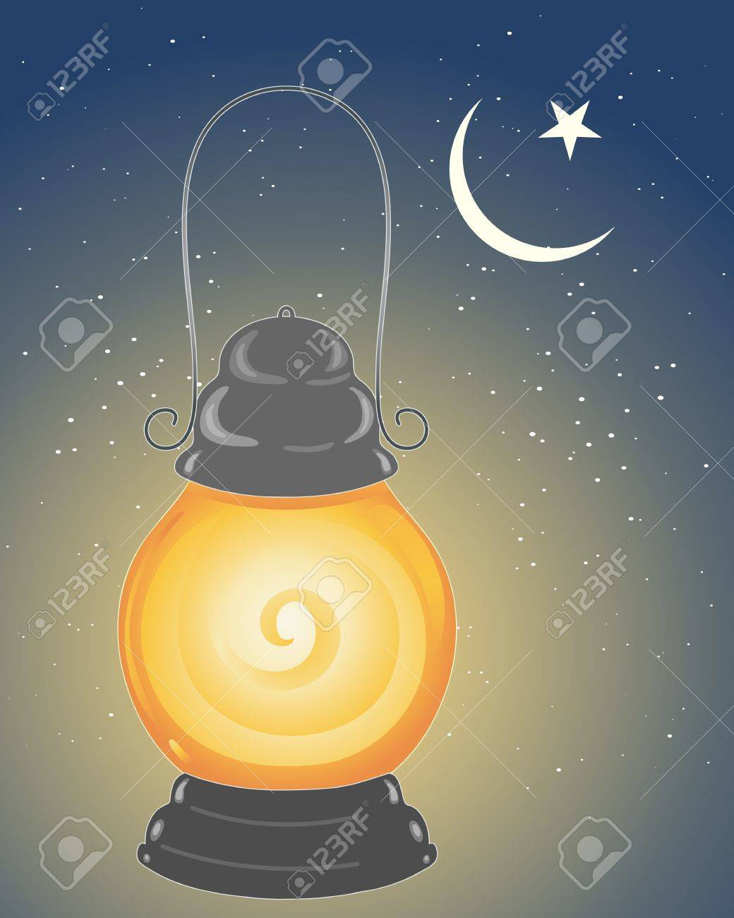 an illustration of a metallic lamp lit to celebrate the festival of ramadan in the islamic calender under a crescent moon and star with a starry sky background Stock Vector - 14855386