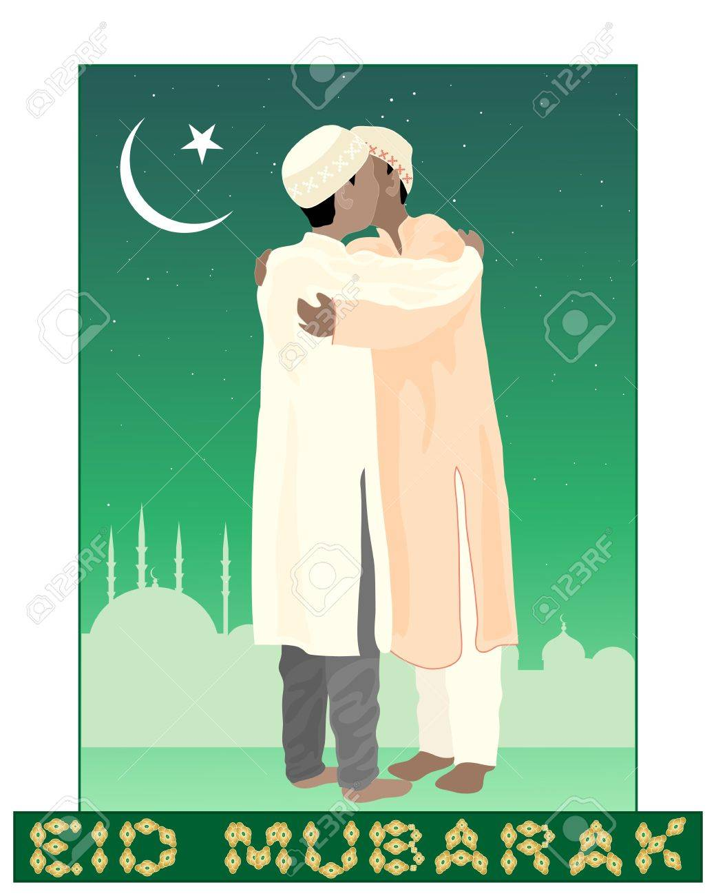 An illustration of of two muslims greeting each other in the an illustration of of two muslims greeting each other in the festival of eid mubarak with m4hsunfo