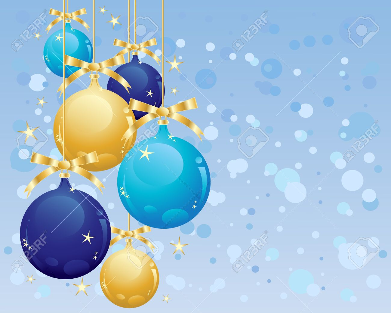 an illustration of metallic gold and blue bauble christmas decorations and ribbon on golden thread with a background of abstract snowflakes Stock Vector - 15603185