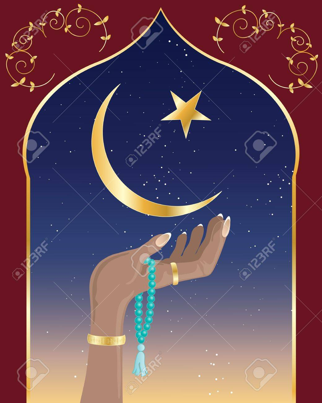 an illustration of a hand with asian prayer beads under the crescent moon and star of islam and decorative arch with night sky Stock Vector - 15974365