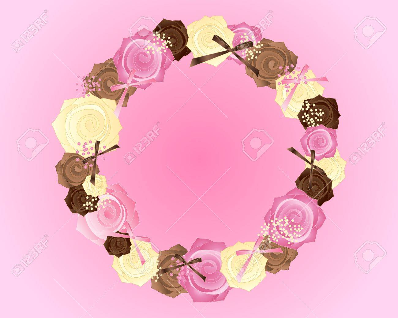 an illustration of a circular posy of pink brown and cream roses with satin bows on a candy pink background Stock Vector - 16061558
