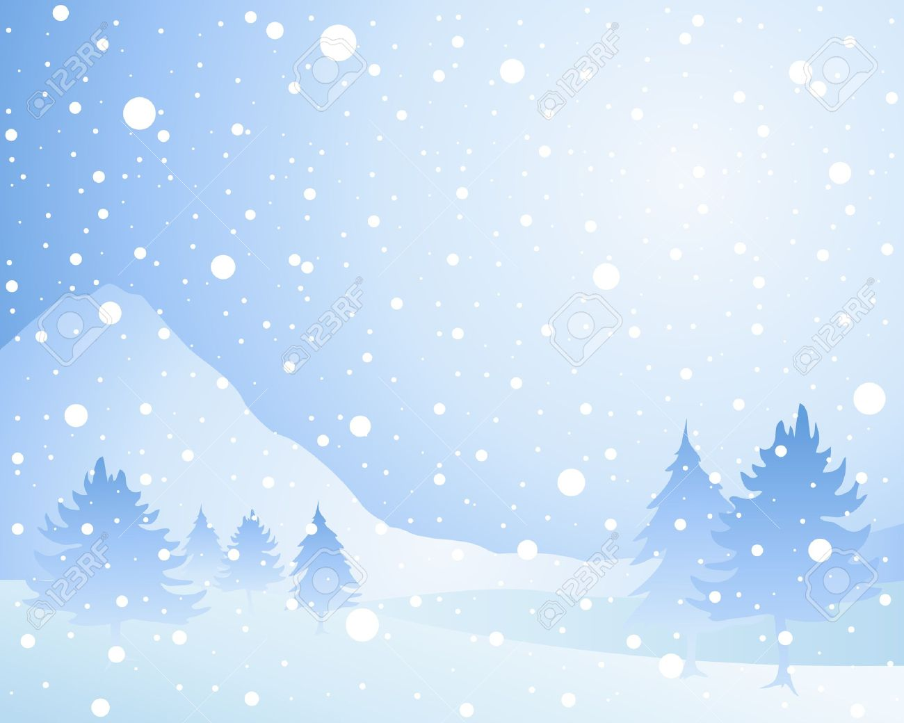 an illustration of a cold winter seasonal christmas landscape with misty fir trees in a snow shower under an icy blue sky Stock Vector - 16244327