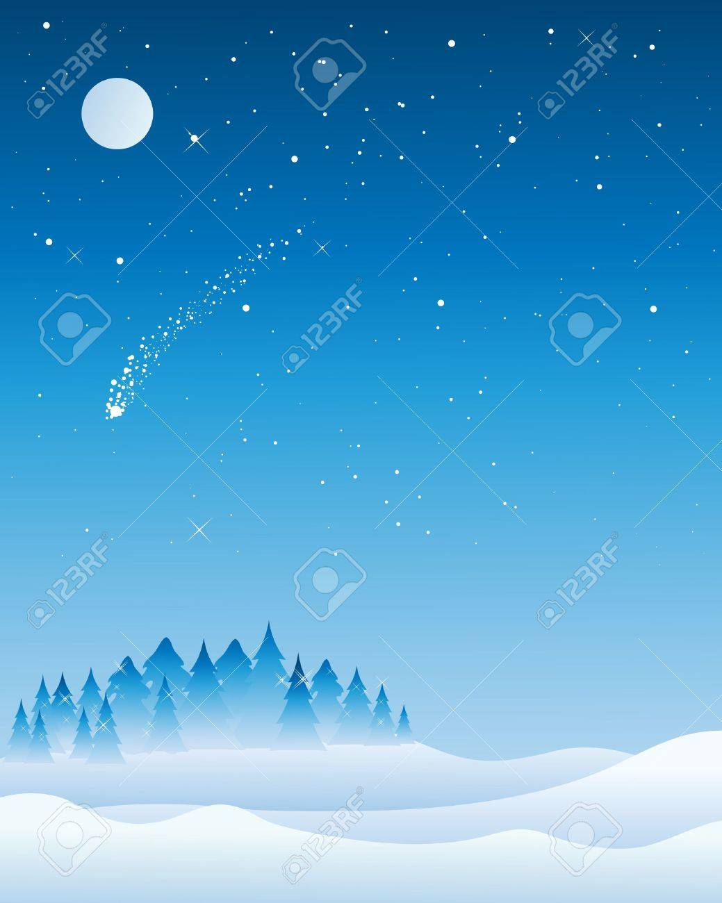 an illustration of a christmas tree syline on a cold snowy night with fir trees glistening under a full moon and a shooting star Stock Vector - 16517150