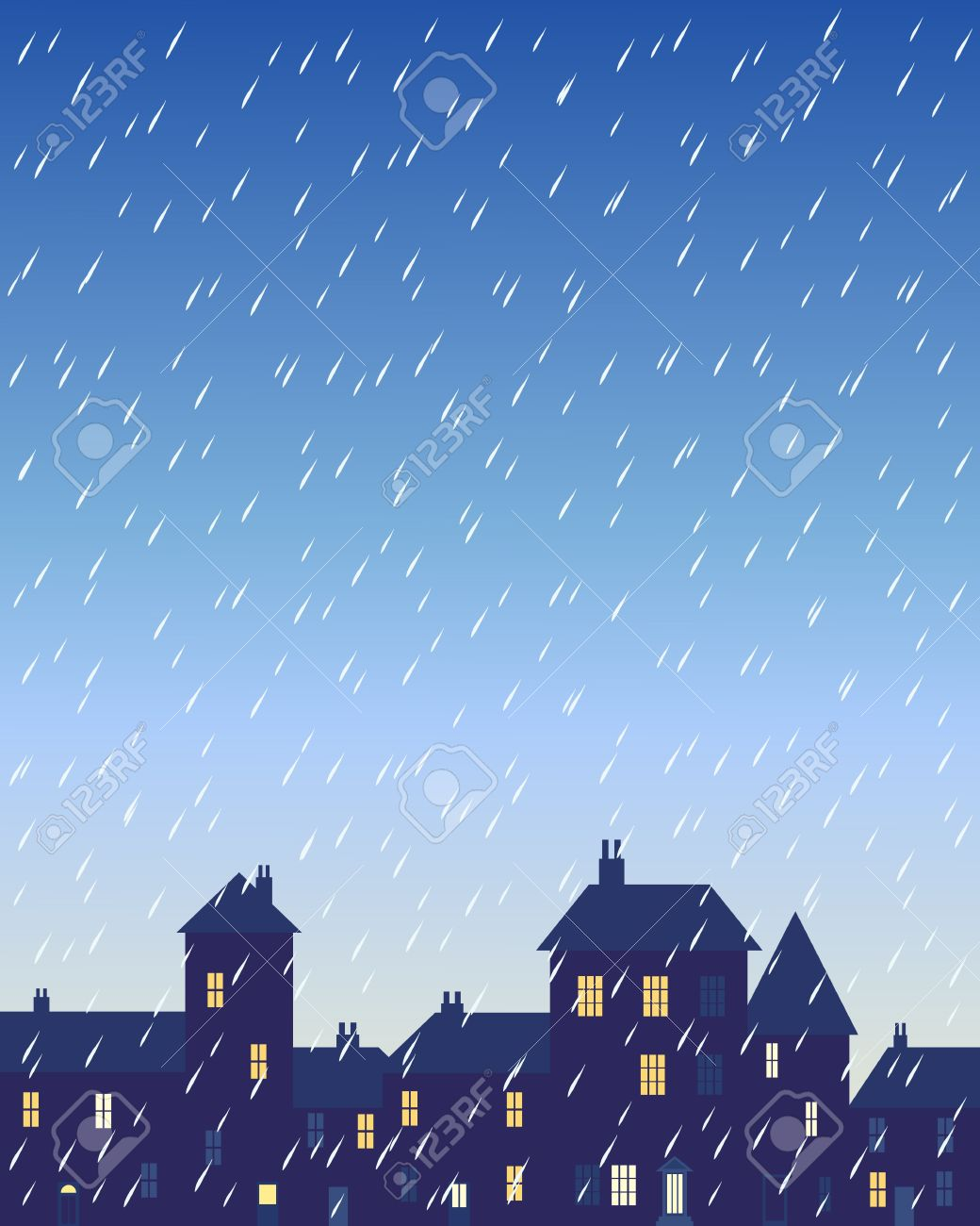 an illustration of a rainy day in a city with various shaped buildings and houses with lighted windows under a stormy sky Stock Vector - 16646042