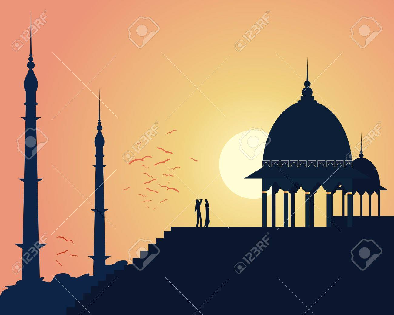 an illustration of beautiful asian architecture with domes and spires in an urban landscape under a setting sun Stock Vector - 17510986