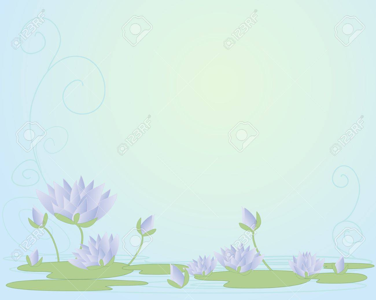 an illustration of beautiful purple water lilies in abstract form with open flowers buds and lily pads on a swirly water background Stock Vector - 17510991