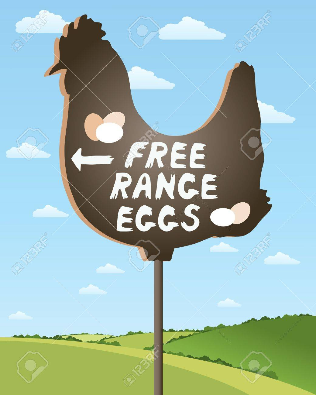 an illustration of a home made sign advertising free range eggs in beautiful countryside scenery under a summer sky Stock Vector - 17621926