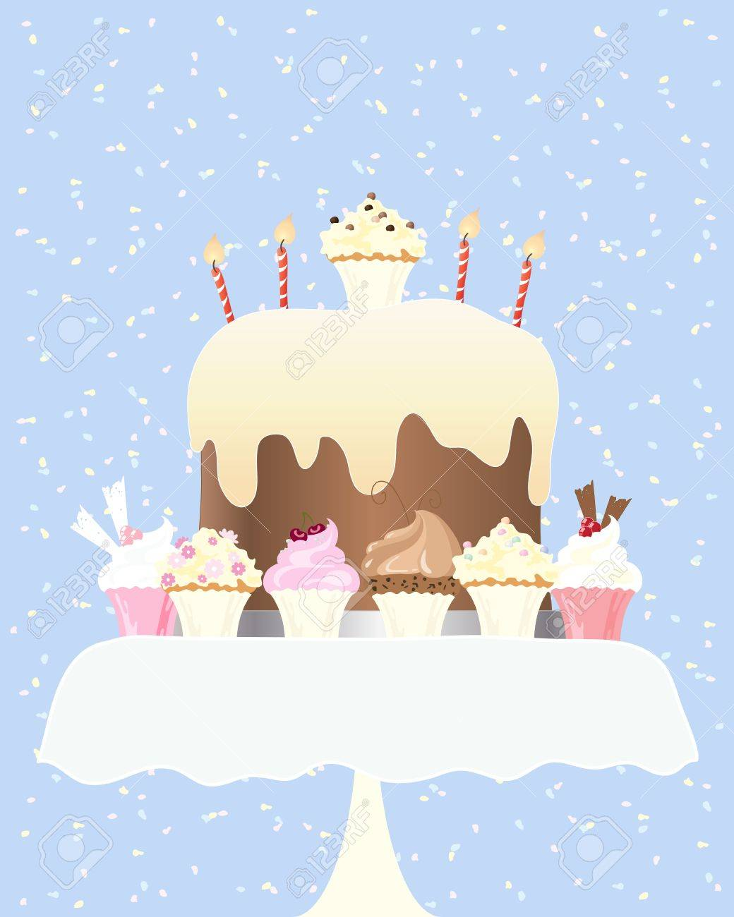 An Illustration Of A Big Birthday Cake With Candles And Delicious Cupcakes On Small Table