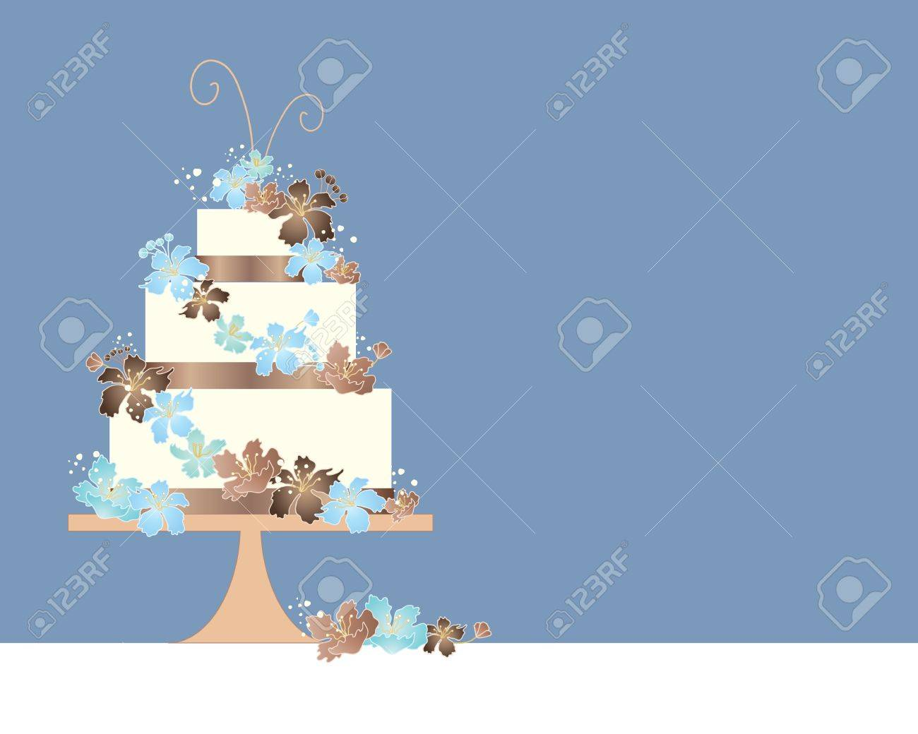 an illustration of a three tier wedding cake greeting card design with blue and brown theme and decorated with matching blossom flowers on a duck egg blue background Stock Vector - 19019464