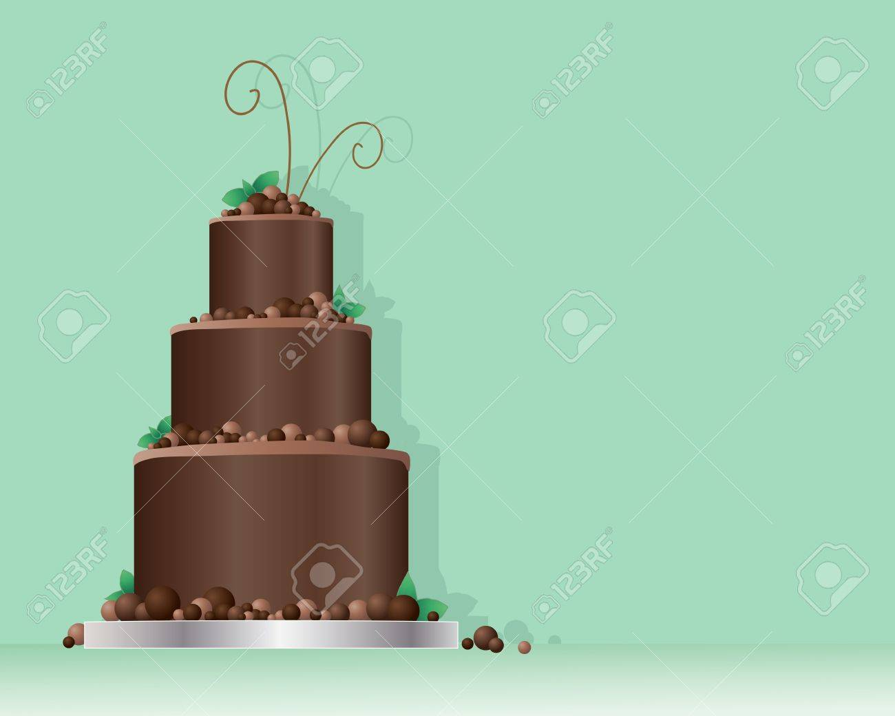 an illustration of a celebration cake in a contemporary design with chocolate balls and mint leaves on a minty green background with space for text Stock Vector - 19087213